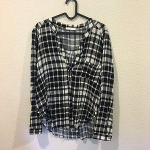 Lush black and white plaid blouse